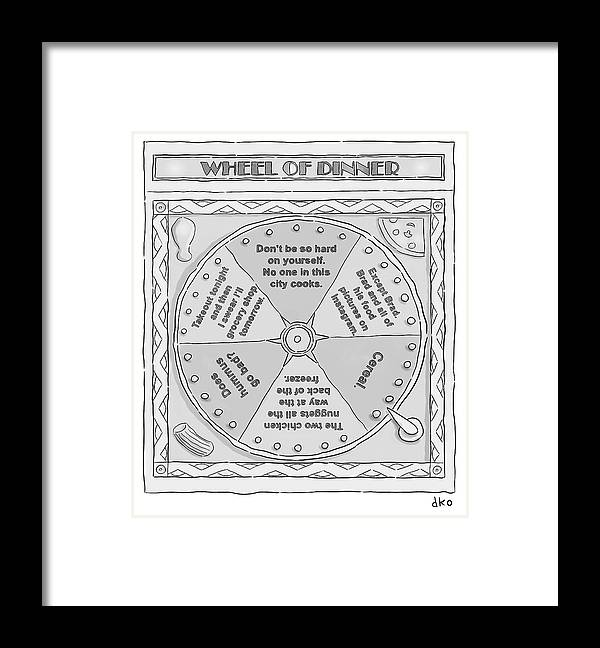 Wheel Of Dinner Framed Print featuring the drawing Wheel of Dinner by David Ostow