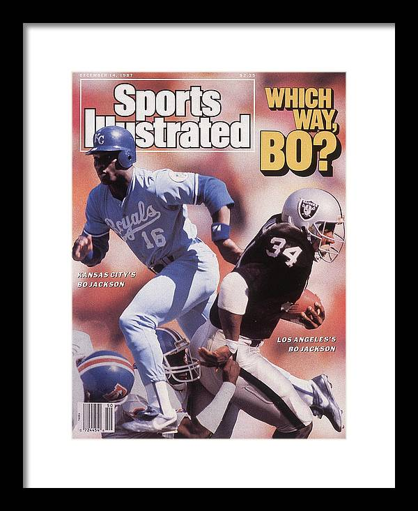 Magazine Cover Framed Print featuring the photograph Which Way Bo? Bo Jackson Of Kansas City Royals And Los Angeles Raiders Sports Illustrated Cover by Sports Illustrated