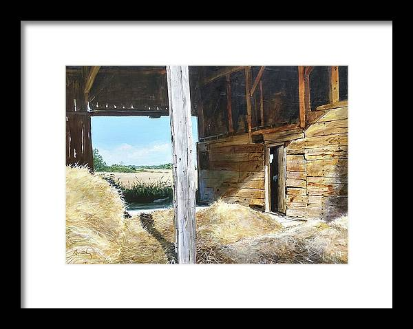 Barn Framed Print featuring the painting While The Sun Shines by William Brody