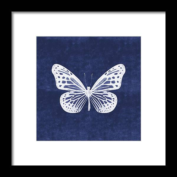 Butterfly Framed Print featuring the mixed media White and Indigo Butterfly- Art by Linda Woods by Linda Woods