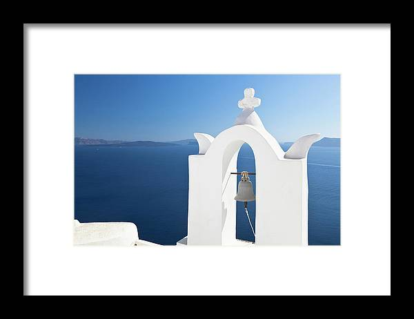 Greek Culture Framed Print featuring the photograph White Bell Tower And Blue Sea by Michaelutech