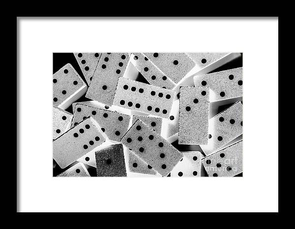 Game Framed Print featuring the photograph White Dots Black Chips by Jorgo Photography - Wall Art Gallery