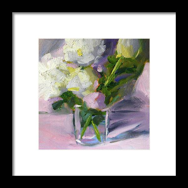 White Peonies Framed Print featuring the painting White Peonies by Nancy Merkle