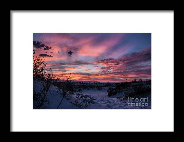 Framed Print featuring the photograph White Sand Sunset by Francis Lavigne-Theriault