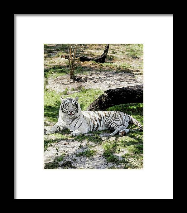 Nature Framed Print featuring the digital art White Tiger At Rest by Kenneth Montgomery