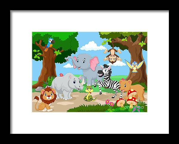 Play Framed Print featuring the digital art Wild Animal Playing In A Beautiful by Muhammad Desta Laksana