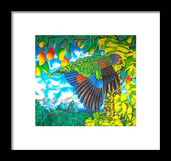 Batik Framed Print featuring the painting Wild Parrot by Daniel Jean-Baptiste