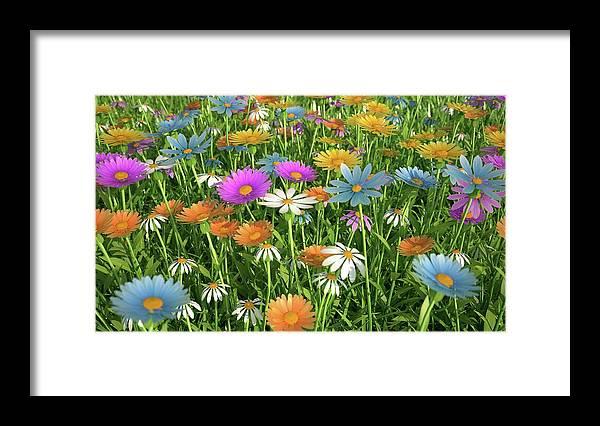 Grass Framed Print featuring the digital art Wildflower Meadow, Artwork by Leonello Calvetti