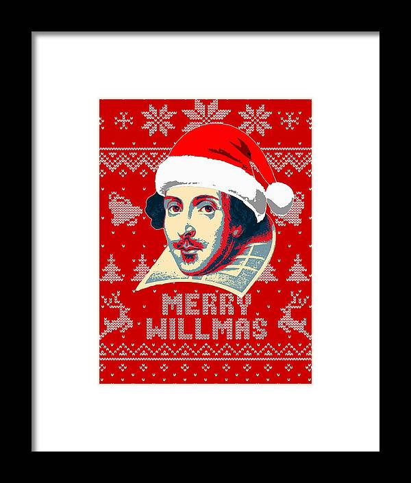 Santa Framed Print featuring the digital art William Shakespeare Merry Willmas by Filip Hellman