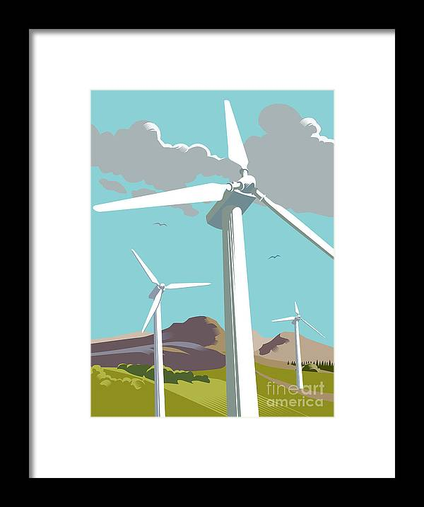 Environmental Conservation Framed Print featuring the digital art Wind Turbine Farm In Countryside by Smartboy10
