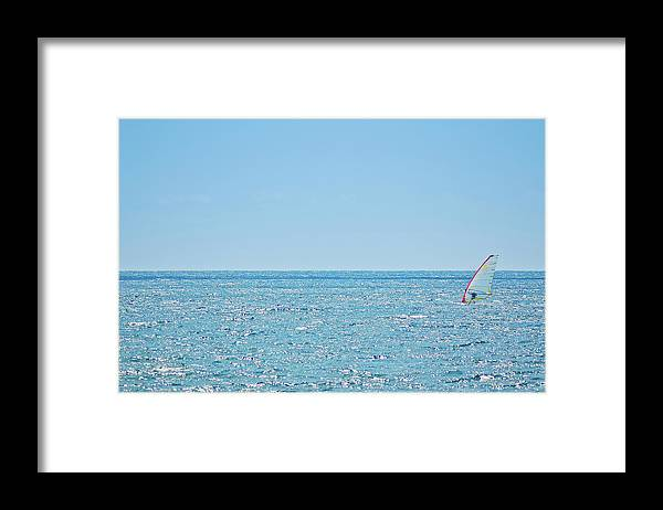 Adriatic Sea Framed Print featuring the photograph Windsurfer In Action by Itchysan