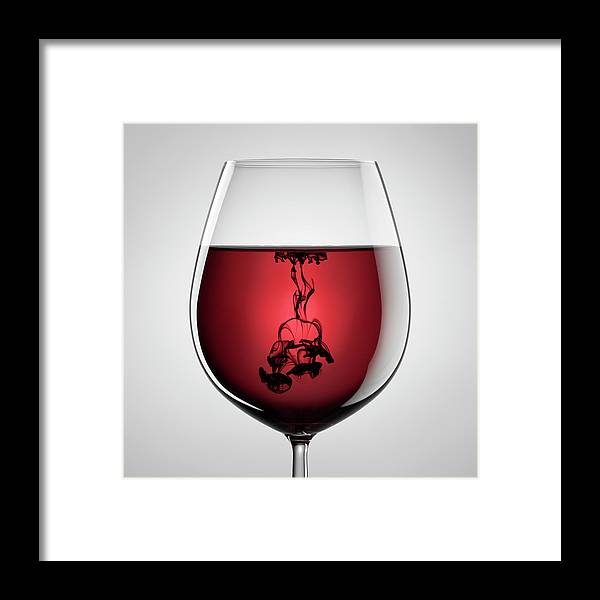 Shadow Framed Print featuring the photograph Wineglass, Red Wine And Black Ink by Thomasvogel