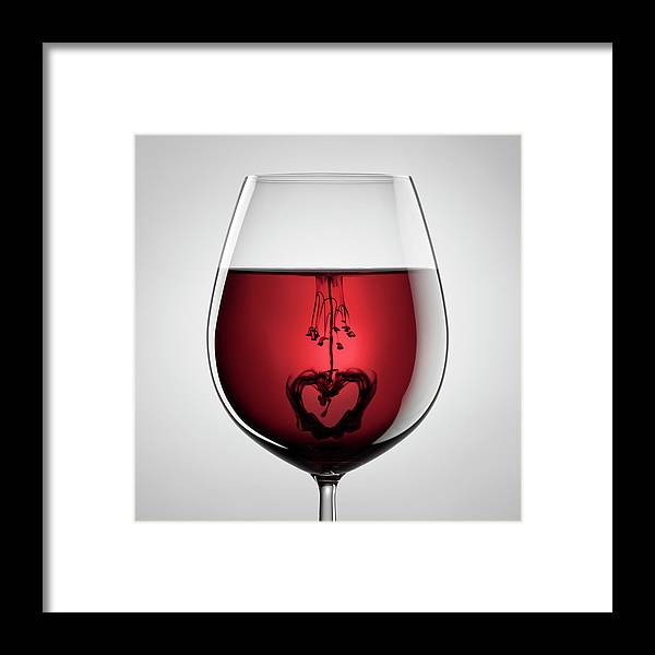 Mixing Framed Print featuring the photograph Wineglass, Red Wine, Black Ink And by Thomasvogel