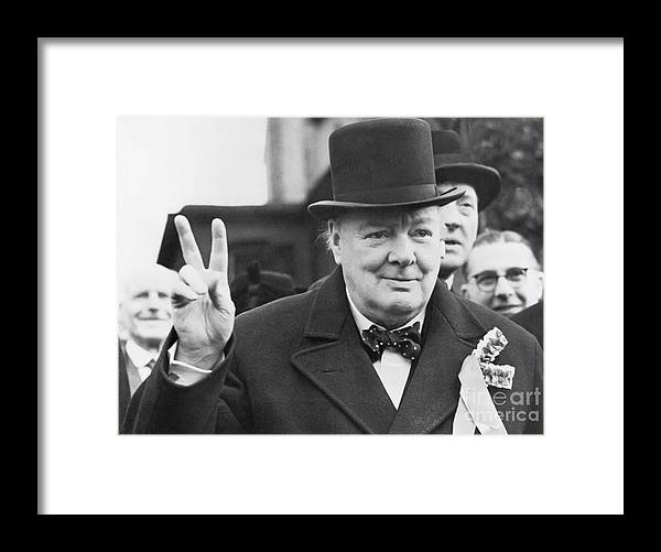 Polling Place Framed Print featuring the photograph Winston Churchill Gives Victory Sign by Bettmann