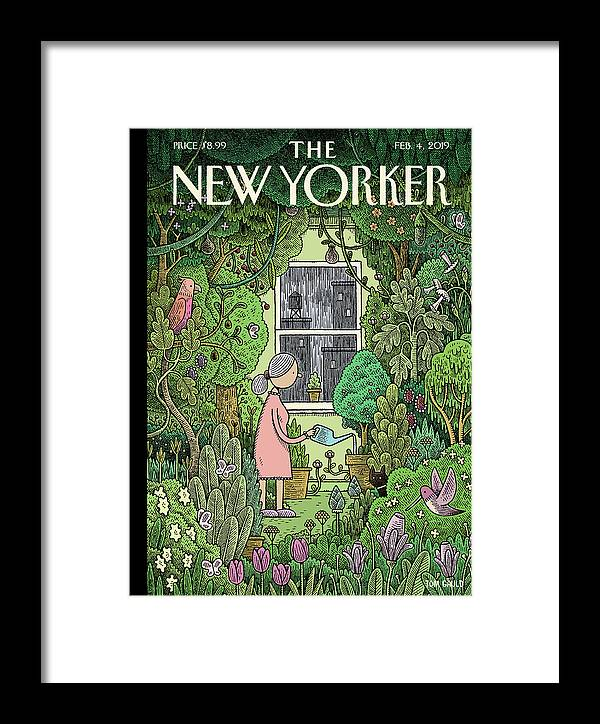 Winter Garden Framed Print featuring the painting Winter Garden by Tom Gauld
