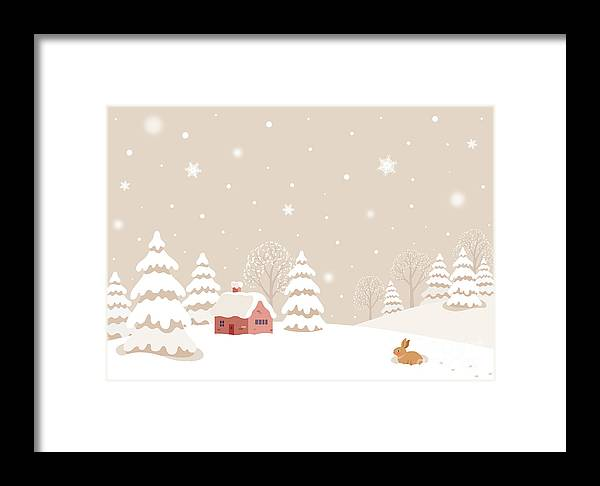 Year Framed Print featuring the digital art Winter Landscape With Rabbit by Soyon
