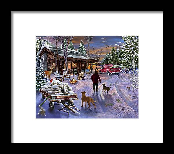 Winter Refuge Framed Print featuring the painting Winter Refuge by Bigelow Illustrations