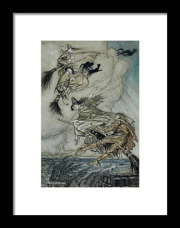 Arthur Rackham Framed Print featuring the painting Witches, 1907 by Arthur Rackham