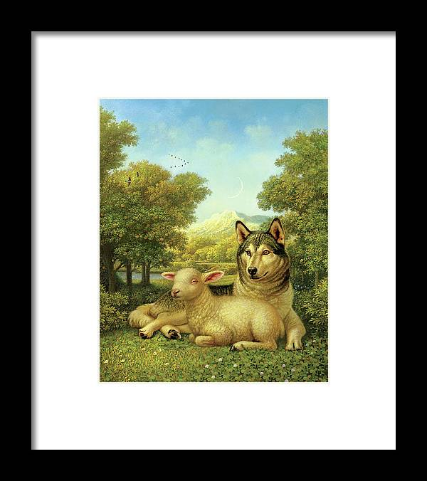 Wolf Laying With A Lamb Framed Print featuring the painting Wolf Lies Down With The Lamb by Dan Craig