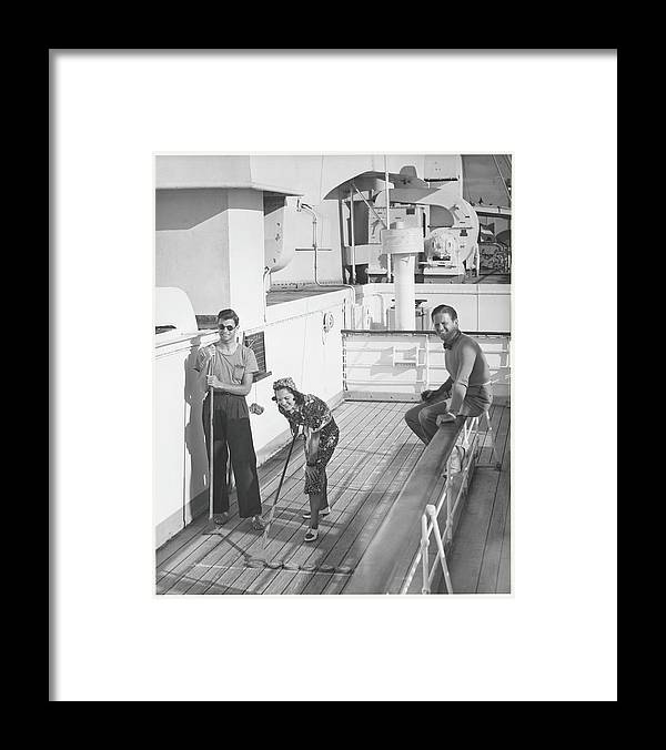 Young Men Framed Print featuring the photograph Woman And Two Men On Cruiser Deck, B&w by George Marks
