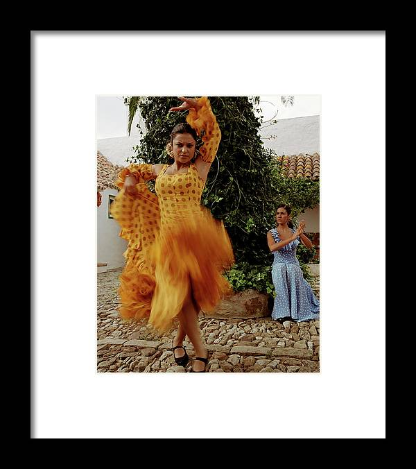 Blurred Motion Framed Print featuring the photograph Woman Flamenco Dancer, Outdoors by Tim Macpherson