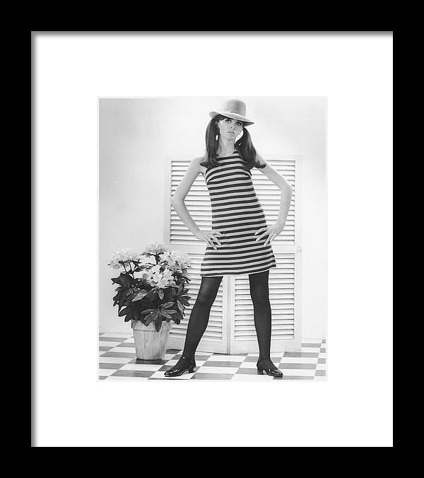 Cool Attitude Framed Print featuring the photograph Woman Posing In Studio, B&w, Portrait by George Marks