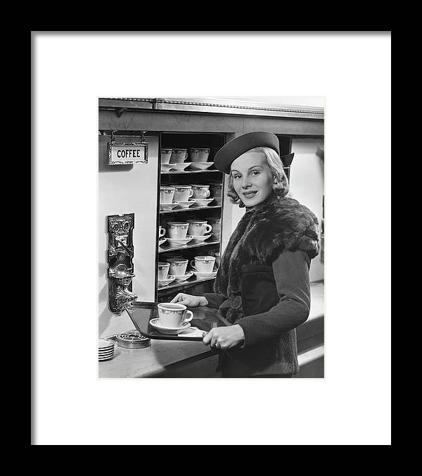 People Framed Print featuring the photograph Woman Wcoffee On Tray by George Marks
