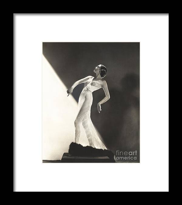 Through Framed Print featuring the photograph Woman Wearing Sheer Evening Gown by Everett Collection