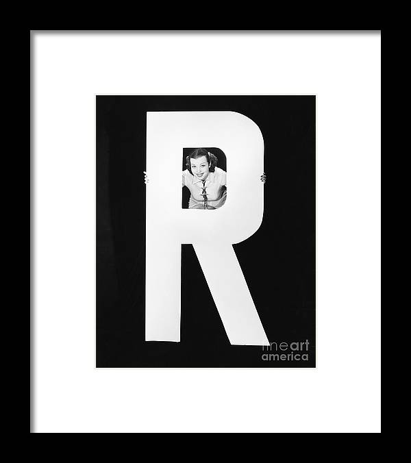 Testimonial Framed Print featuring the photograph Woman With Huge Letter R by Everett Collection