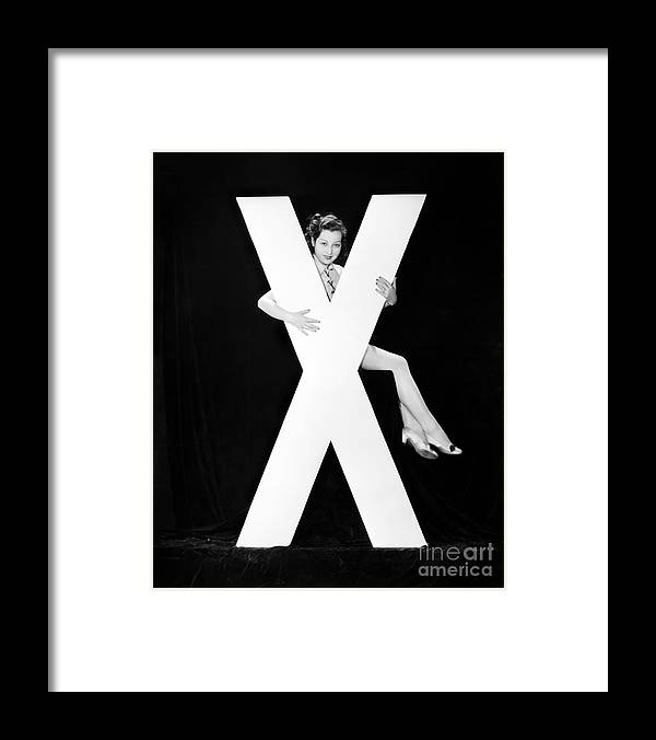 Testimonial Framed Print featuring the photograph Woman With Huge Letter X by Everett Collection