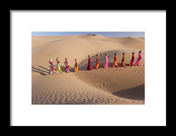 People Framed Print featuring the photograph Women Fetching Water From The Sparse by Mint Images - Art Wolfe