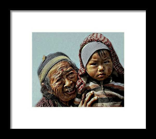 Nepal Framed Print featuring the photograph Women Of Nepal - Series by Yvette Depaepe