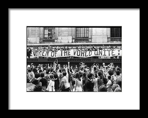 Marching Framed Print featuring the photograph Women Of The World Unite by Fred W. McDarrah