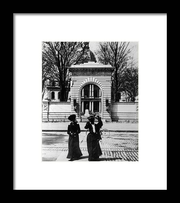 Arch Framed Print featuring the photograph Women Outside The Concord State Capitol by Keystone