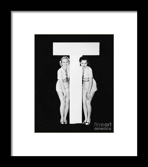 Testimonial Framed Print featuring the photograph Women Posing With Huge Letter T by Everett Collection