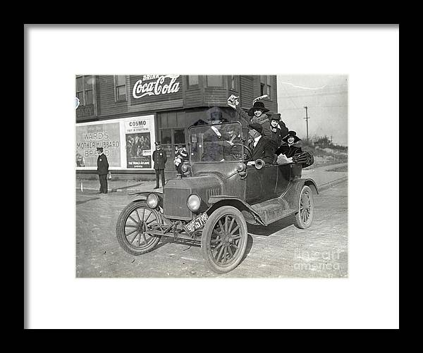Employment And Labor Framed Print featuring the photograph Women Steel Mill Strikers In Gary 1919 by Bettmann
