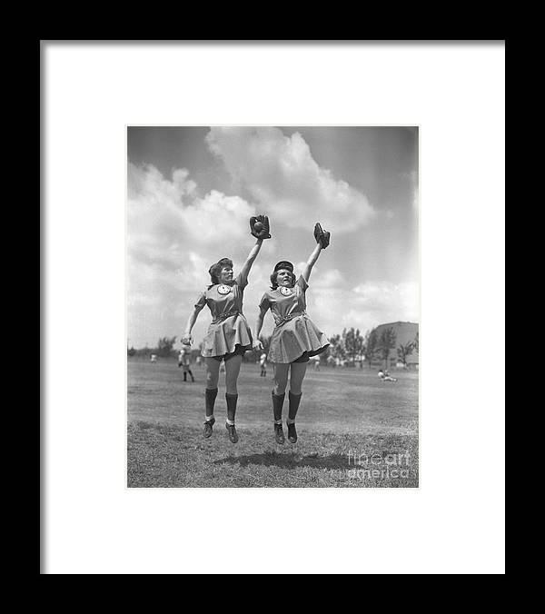 Mid Adult Women Framed Print featuring the photograph Womens Baseball League Twin Players by Bettmann