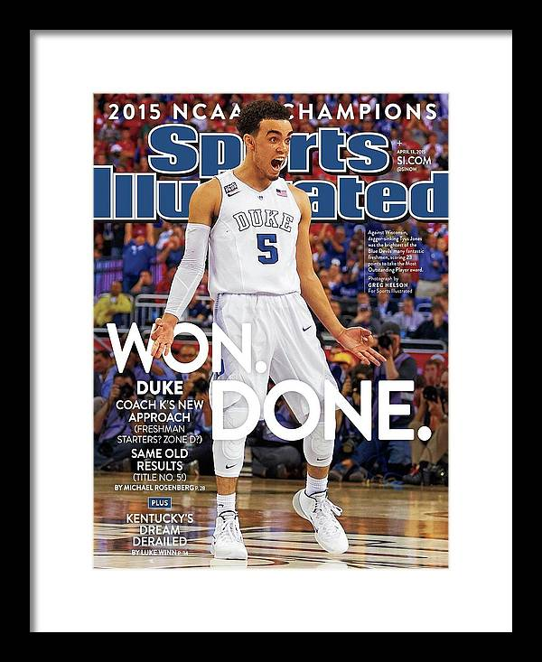 Magazine Cover Framed Print featuring the photograph Won. Done. 2015 Ncaa Champions Sports Illustrated Cover by Sports Illustrated