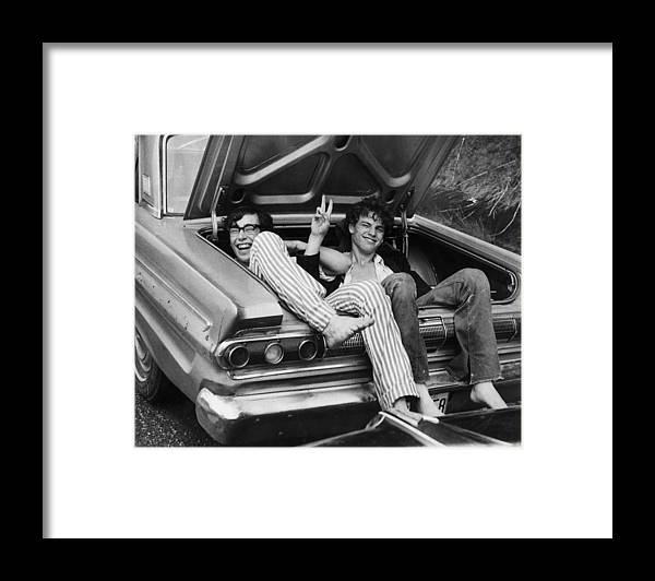 Mode Of Transport Framed Print featuring the photograph Woodstock Hitchers by Three Lions
