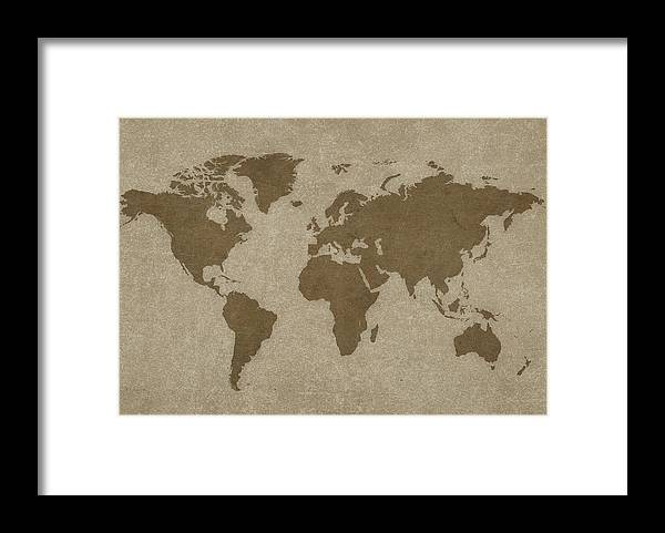 Globe Framed Print featuring the photograph World Map And Compass by Dem10
