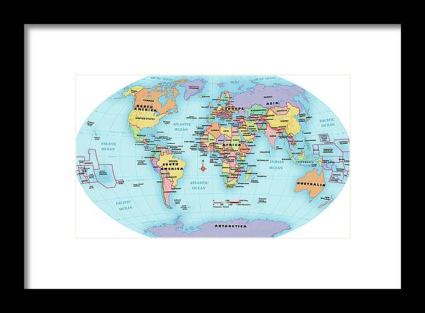 Horizontal Framed Print featuring the digital art World Map, Continent And Country Labels by Globe Turner, Llc