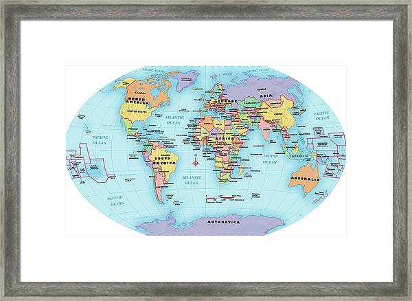 World Map With Country Labels.World Map Continent And Country Labels Framed Print By Globe Turner