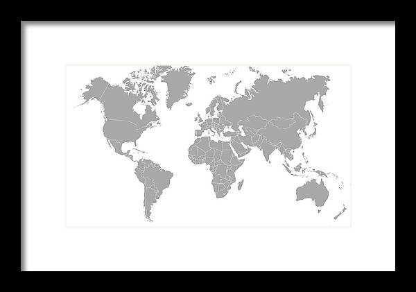 World Map Outline In Gray Color Framed Print By Chokkicx
