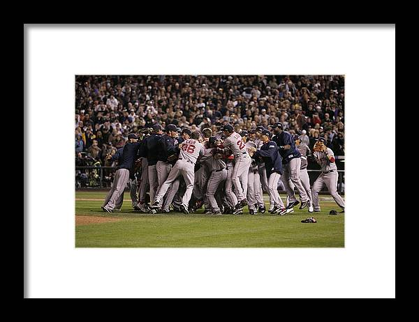 Celebration Framed Print featuring the photograph World Series Boston Red Sox V Colorado by Rich Pilling