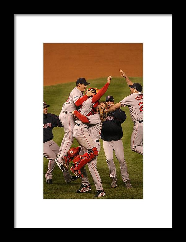 Celebration Framed Print featuring the photograph World Series Boston Red Sox V Colorado by Ron Vesely