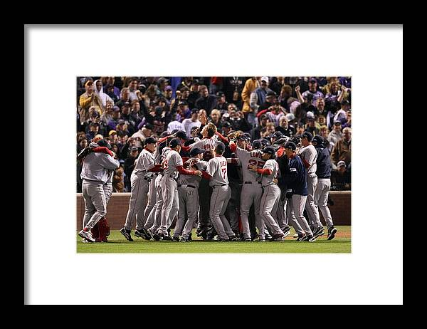 Scoring Framed Print featuring the photograph World Series Boston Red Sox V Colorado by Stephen Dunn