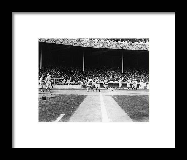 People Framed Print featuring the photograph World Series Boston Red Sox V New York by Fpg