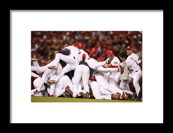 Following Framed Print featuring the photograph World Series Game 5 St. Louis Cardinals by Rich Pilling