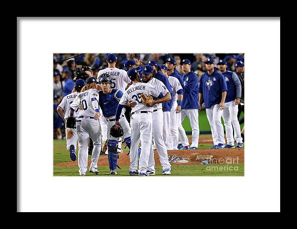 People Framed Print featuring the photograph World Series - Houston Astros V Los by Kevork Djansezian