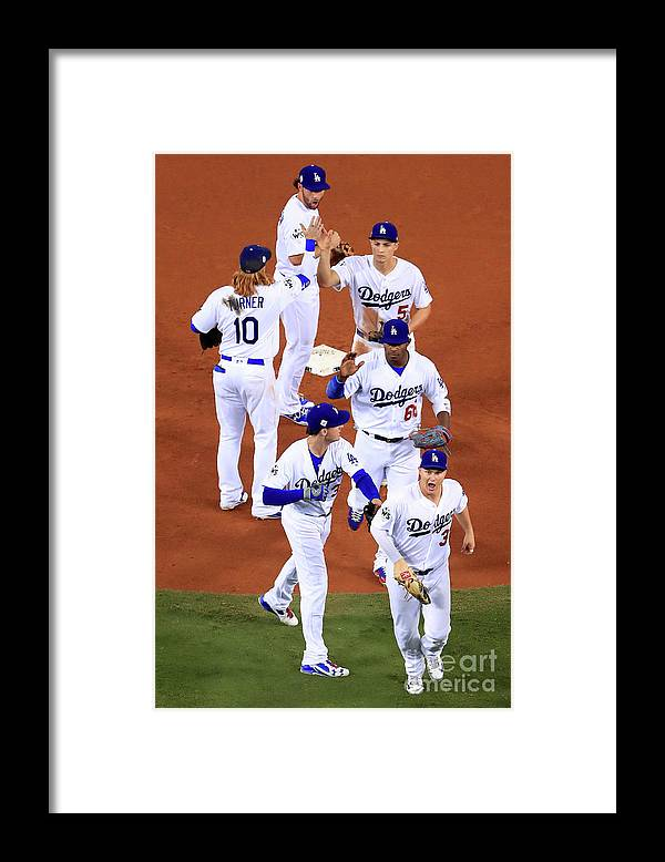 People Framed Print featuring the photograph World Series - Houston Astros V Los by Sean M. Haffey